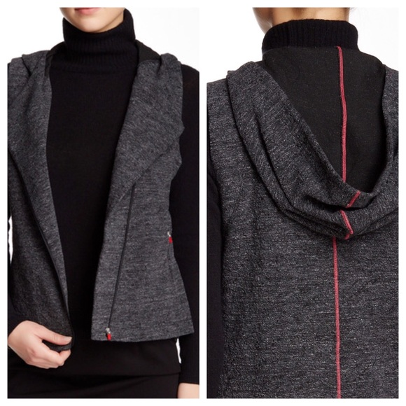 b73b68be Eileen Fisher Tops - Eileen Fisher charcoal knit hood vest size XS